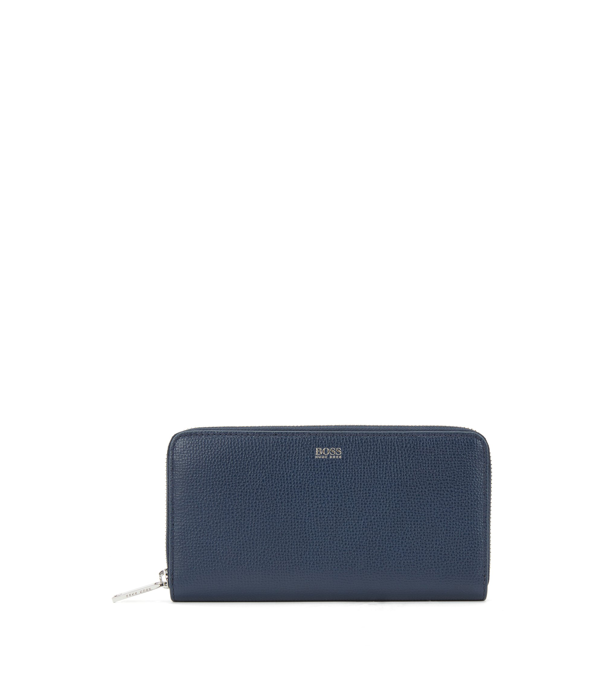 Zip-around wallet in grained Italian leather, Open Blue