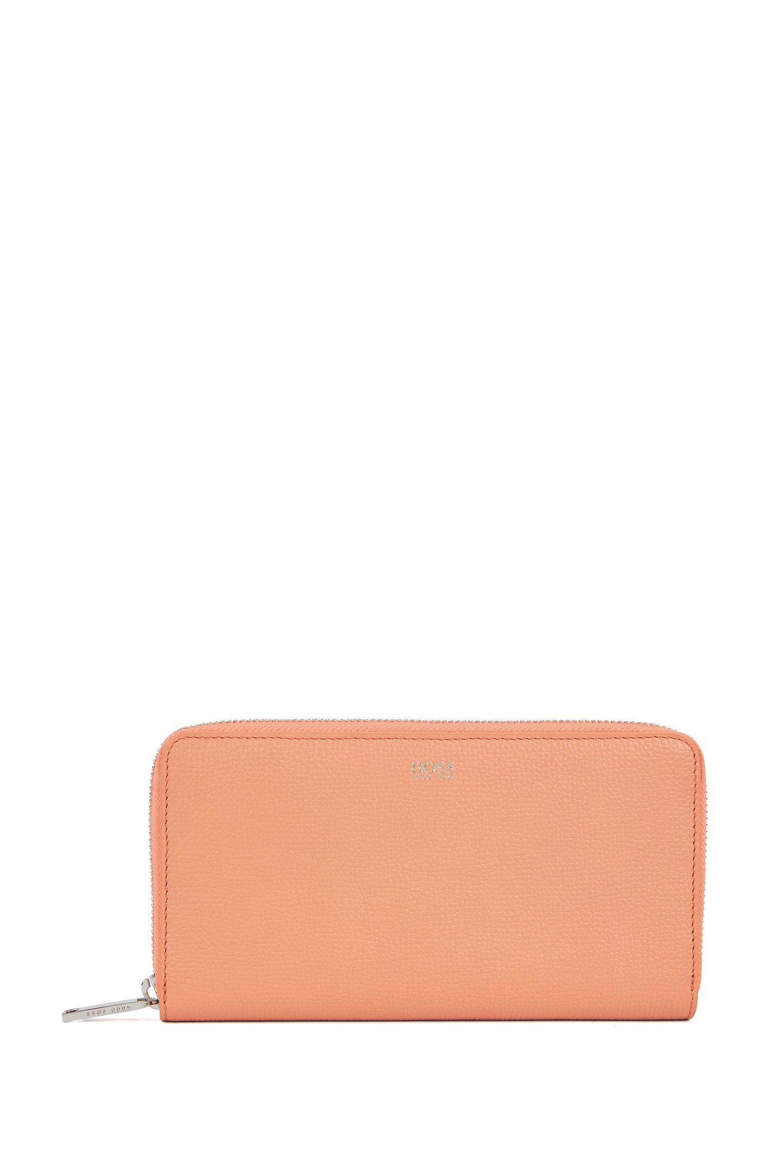 Zip-around wallet in grained Italian leather, Orange