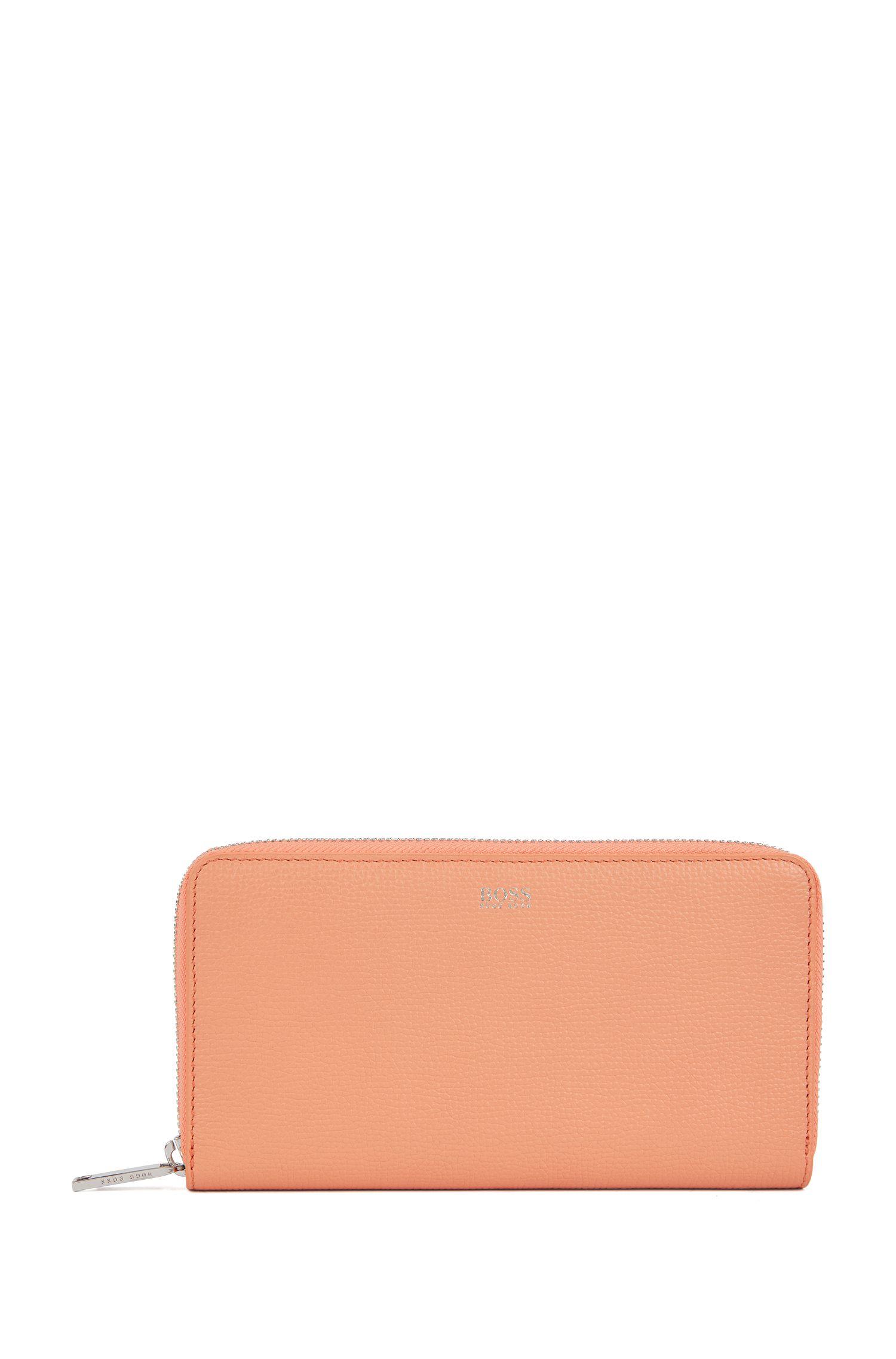 Portefeuille en cuir italien grainé, avec fermeture éclair circulaire, Orange