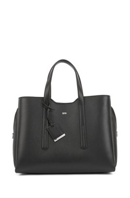 Soft tote bag in grainy Italian leather, Black