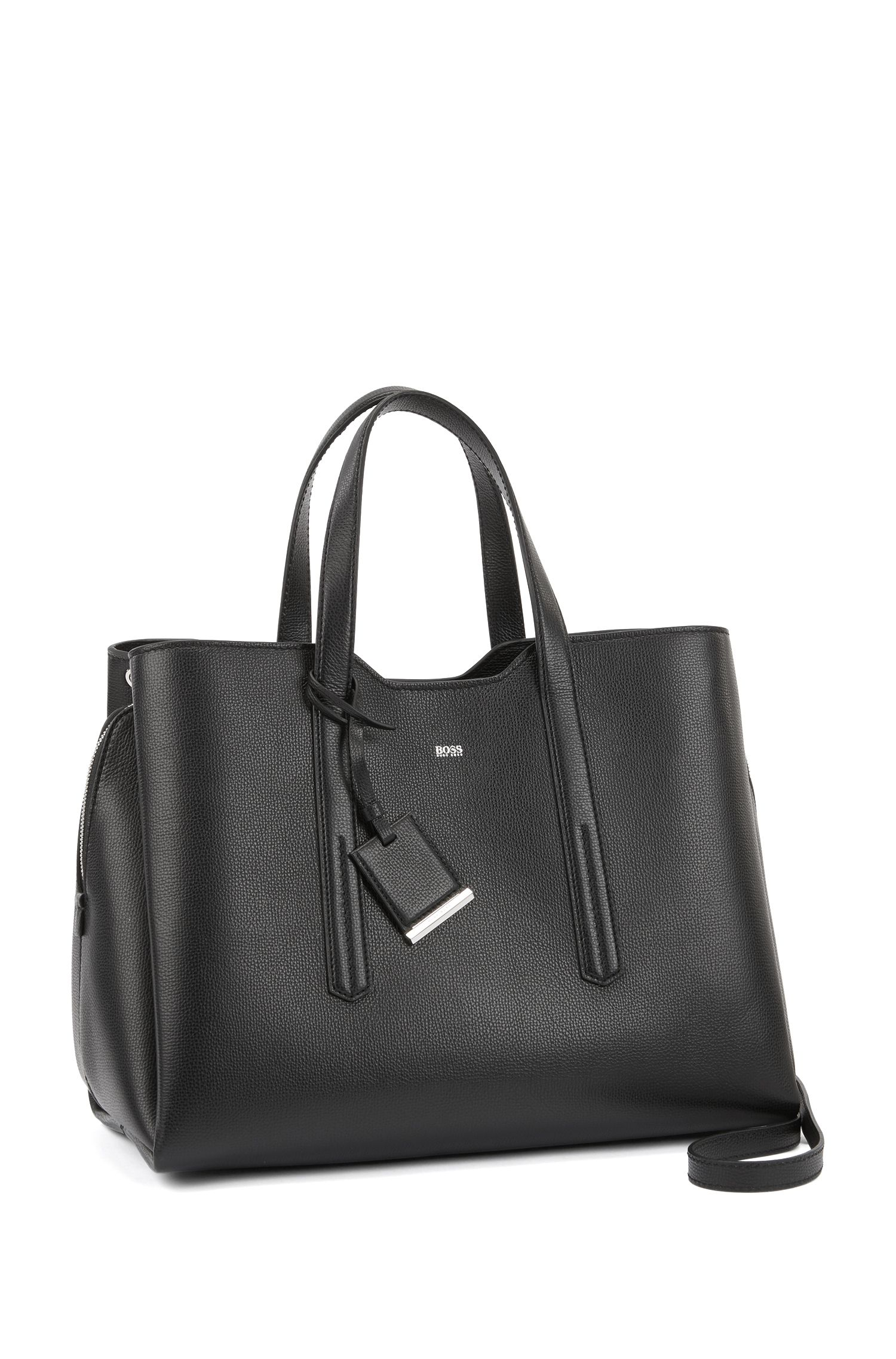 Softe Tote Bag aus genarbtem italienischem Leder, Schwarz