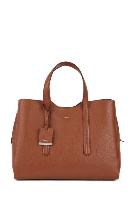 Softe Tote Bag aus genarbtem italienischem Leder, Hellbraun