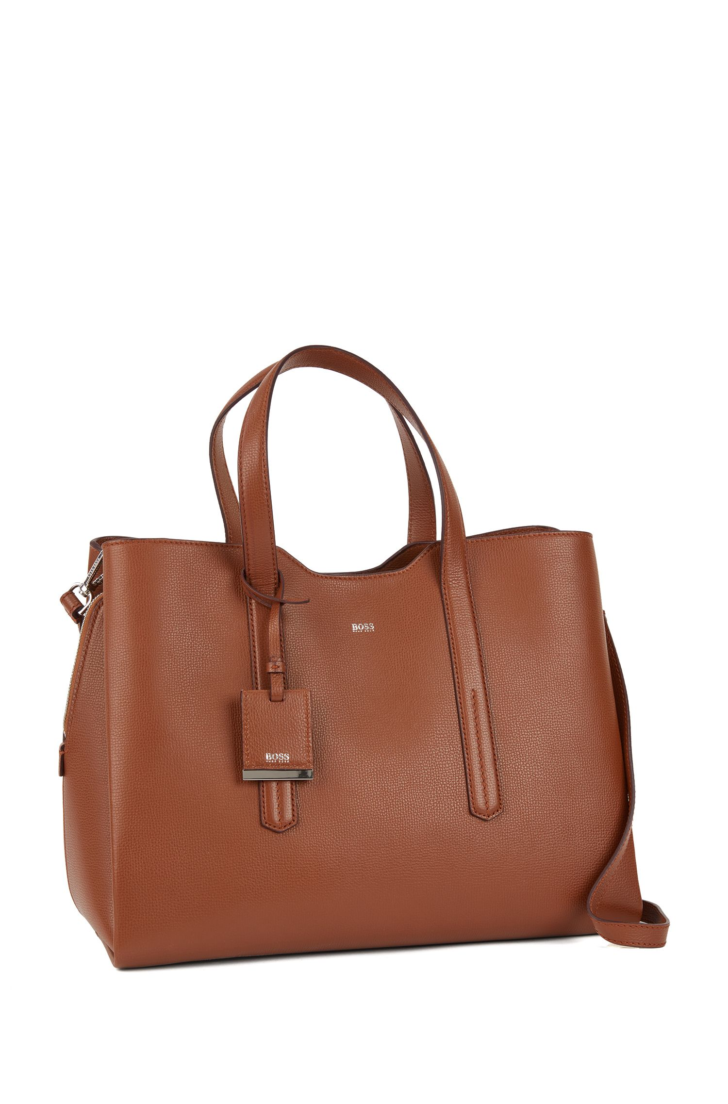 Soft tote bag in grainy Italian leather, Light Brown