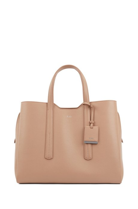 Soft tote bag in grainy Italian leather, Beige
