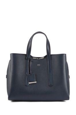 Soft tote bag in grainy Italian leather, Dark Blue