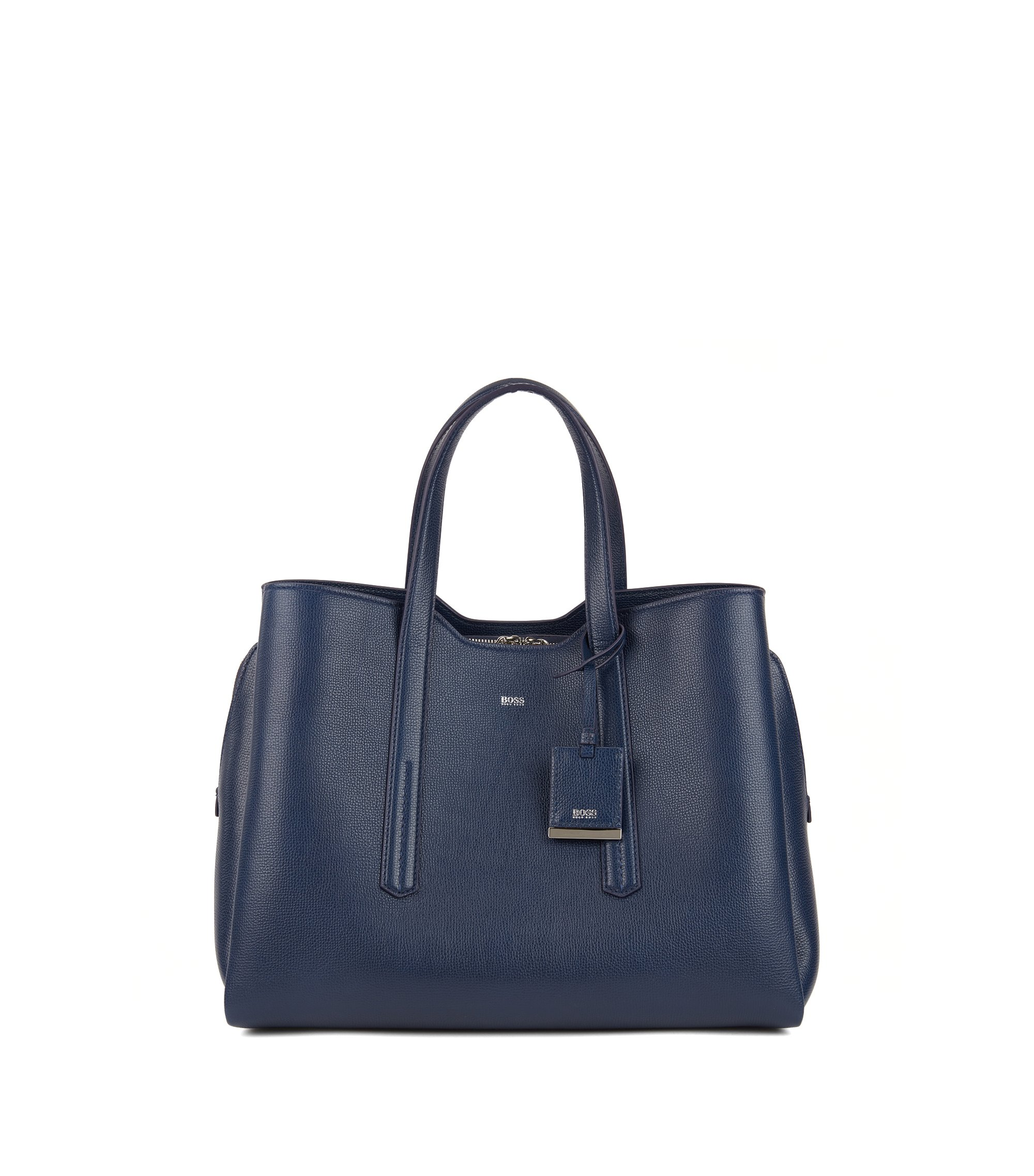Soft tote bag in grainy Italian leather, Open Blue
