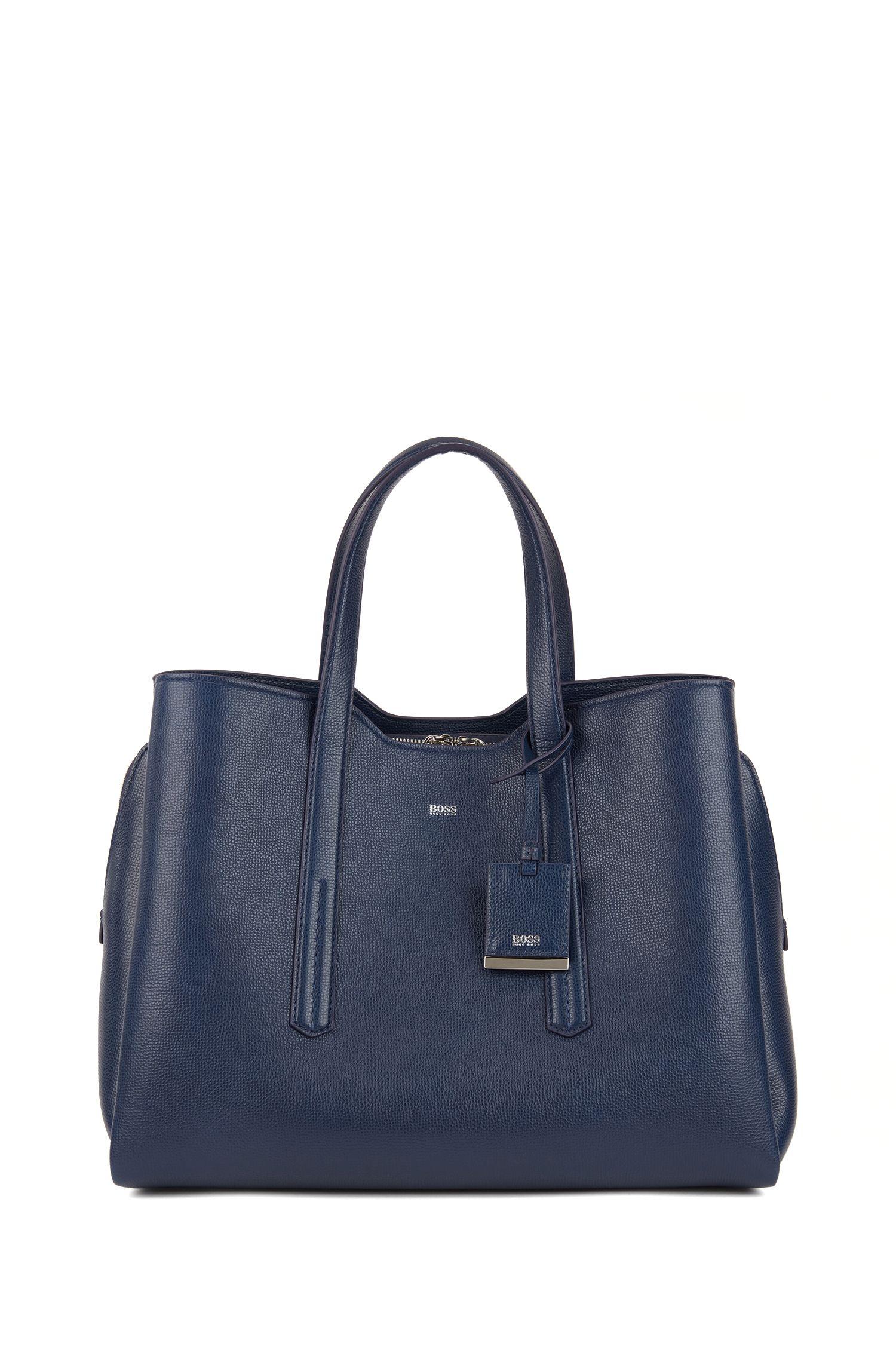 Softe Tote Bag aus genarbtem italienischem Leder, Hellblau
