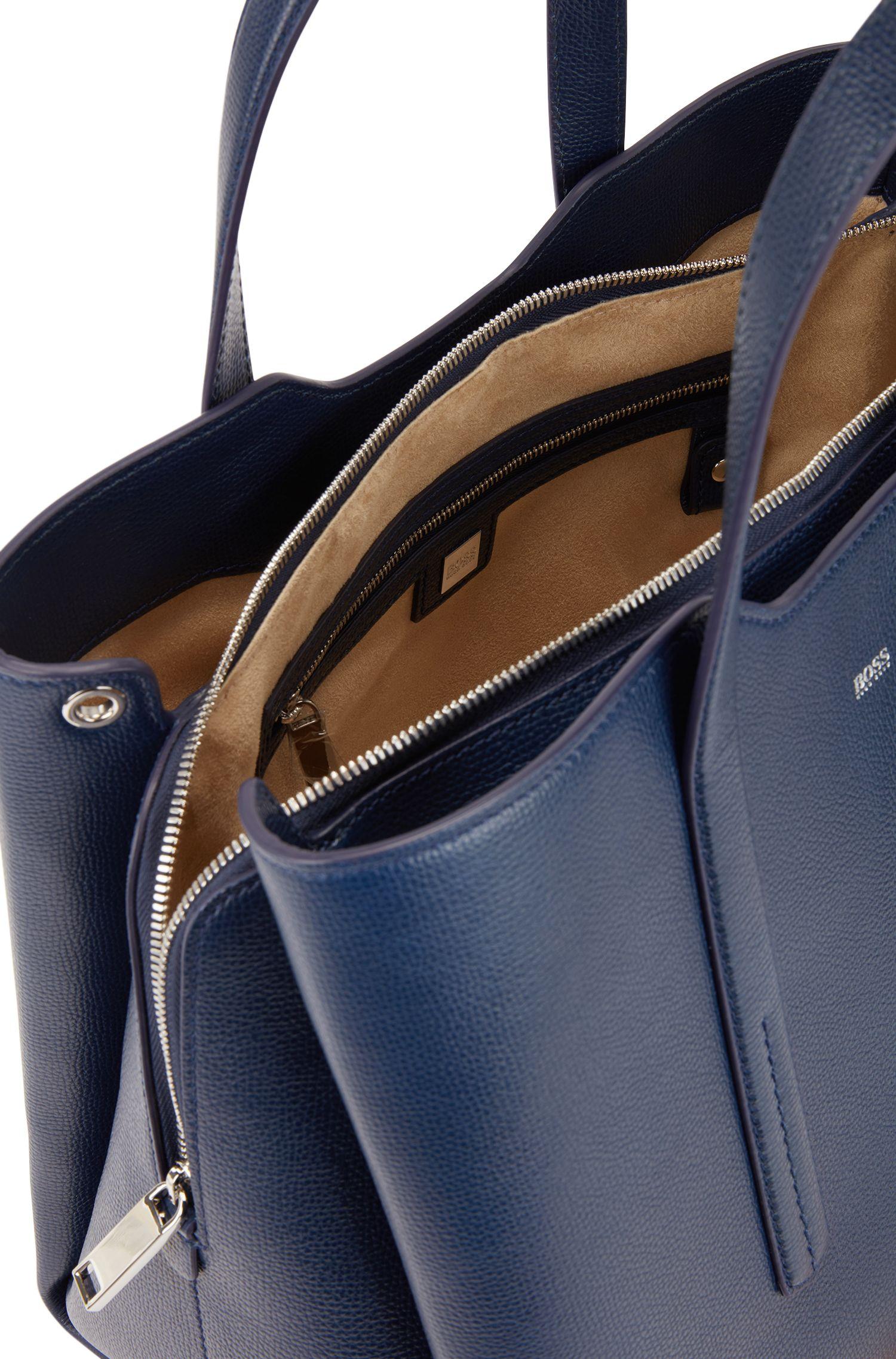 Cabas en doux cuir grainé italien, Bleu vif