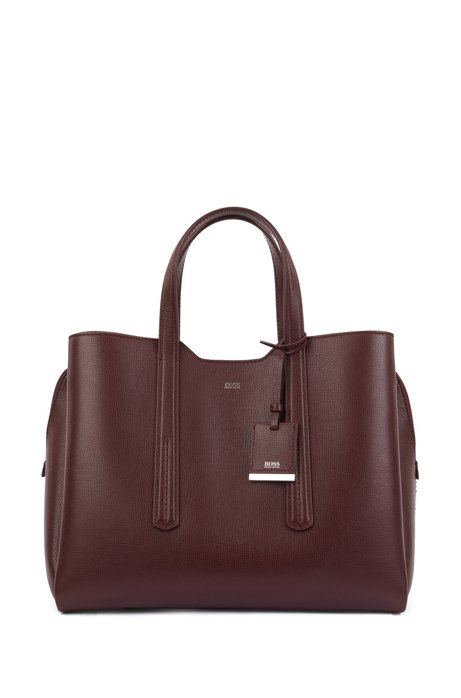 Soft tote bag in grainy Italian leather, Dark Red
