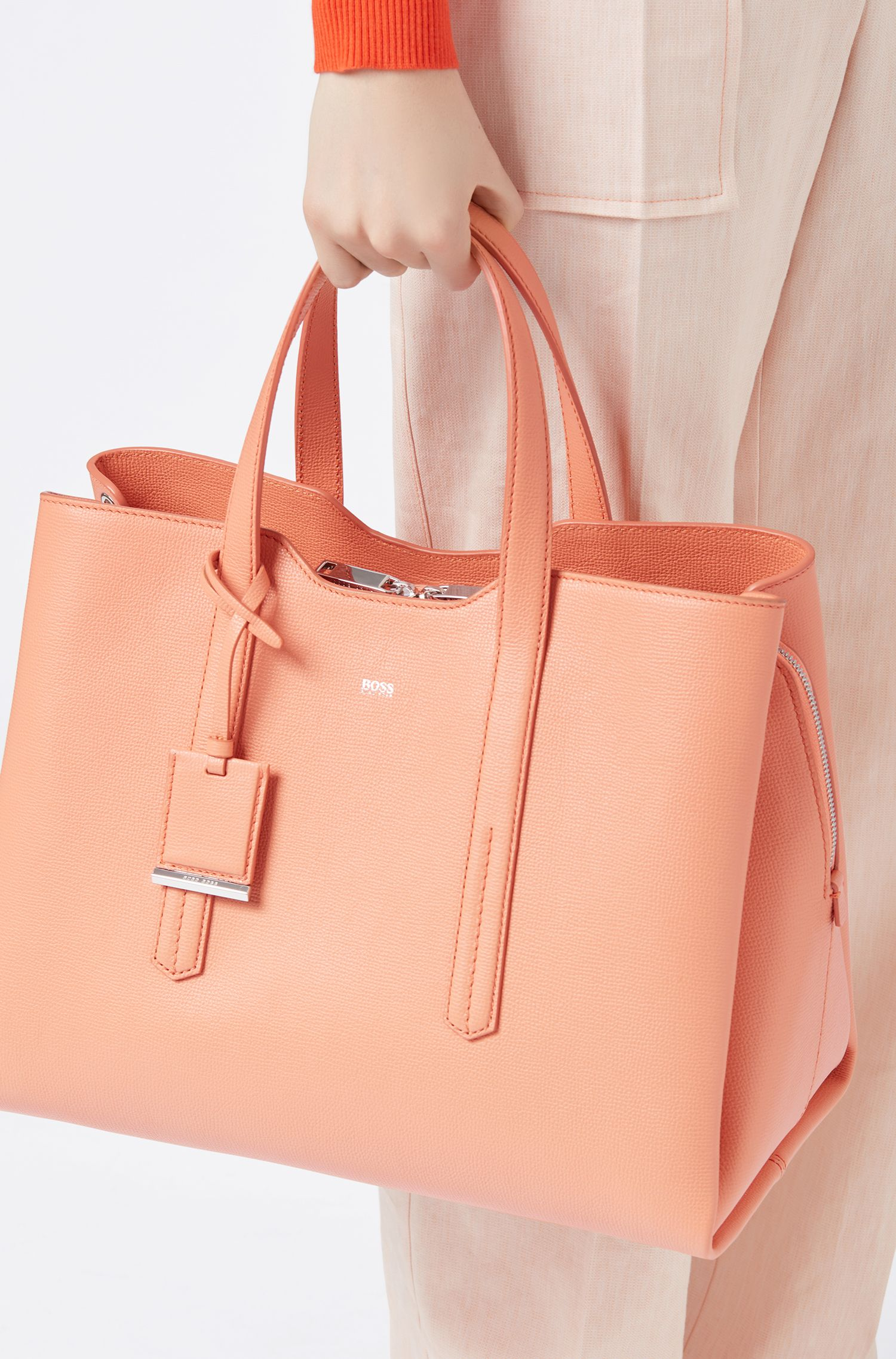 Soft tote bag in grainy Italian leather, Orange