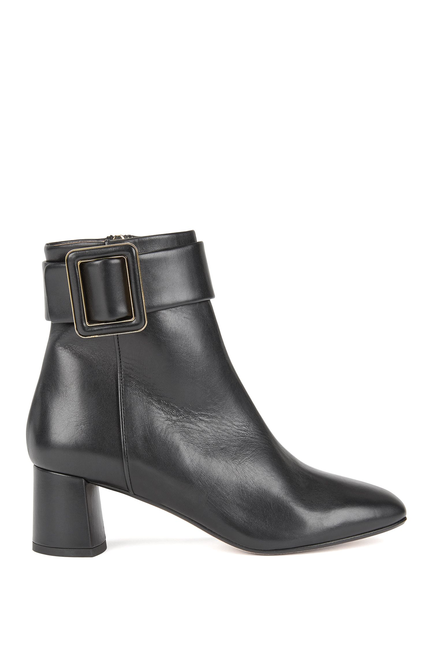 Block-heel leather ankle boots with buckle detail , Black