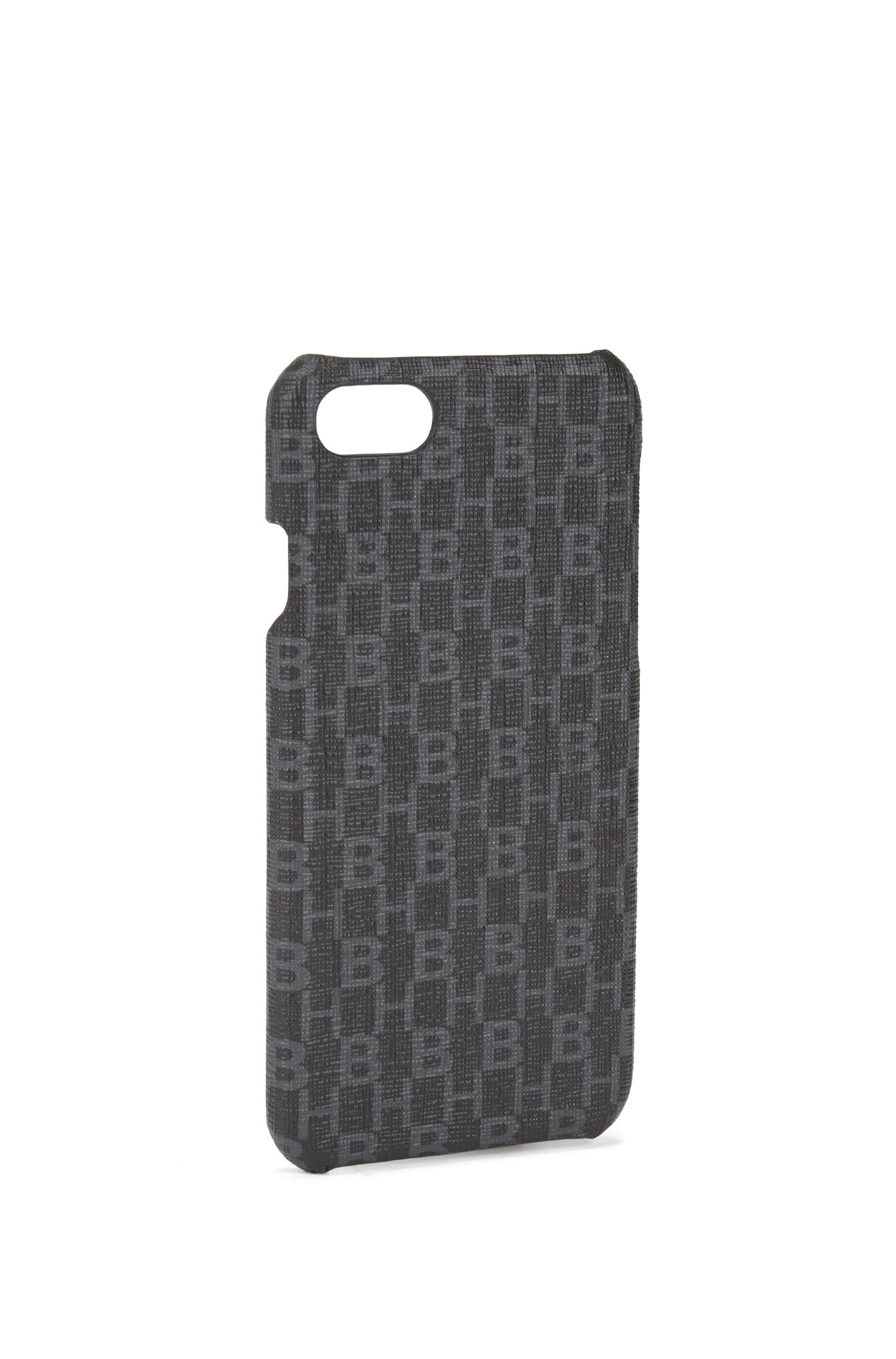 iPhone 8 smartphone case in monogrammed Italian fabric, Black