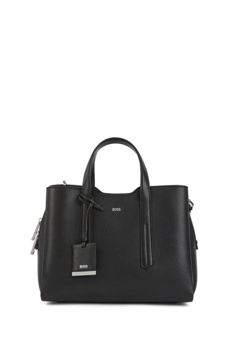 Tote bag in softly structured grainy Italian leather, Black