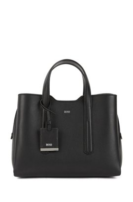 Tote Bag In Softly Structured Grainy Italian Leather Black