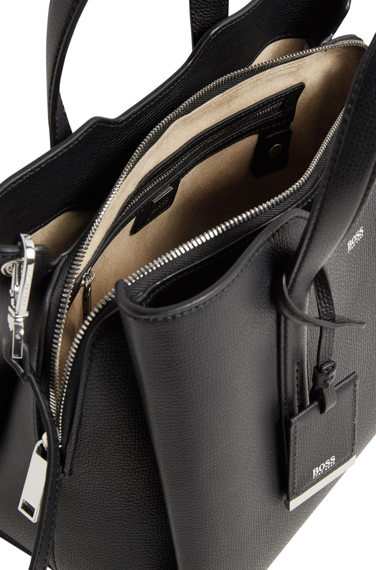 Tote bag in softly structured grainy Italian leather
