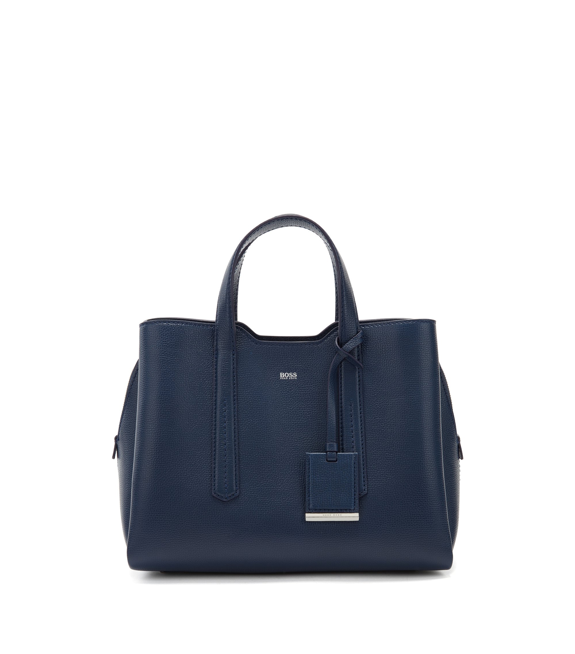 Tote bag in softly structured grainy Italian leather, Blue