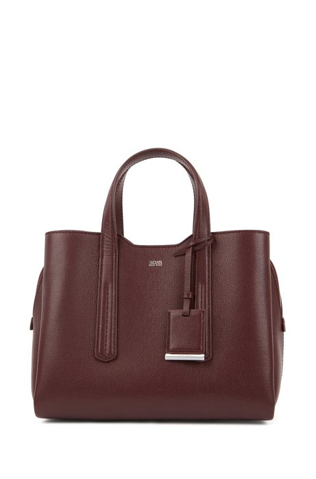 Tote bag in softly structured grainy Italian leather, Dark Red