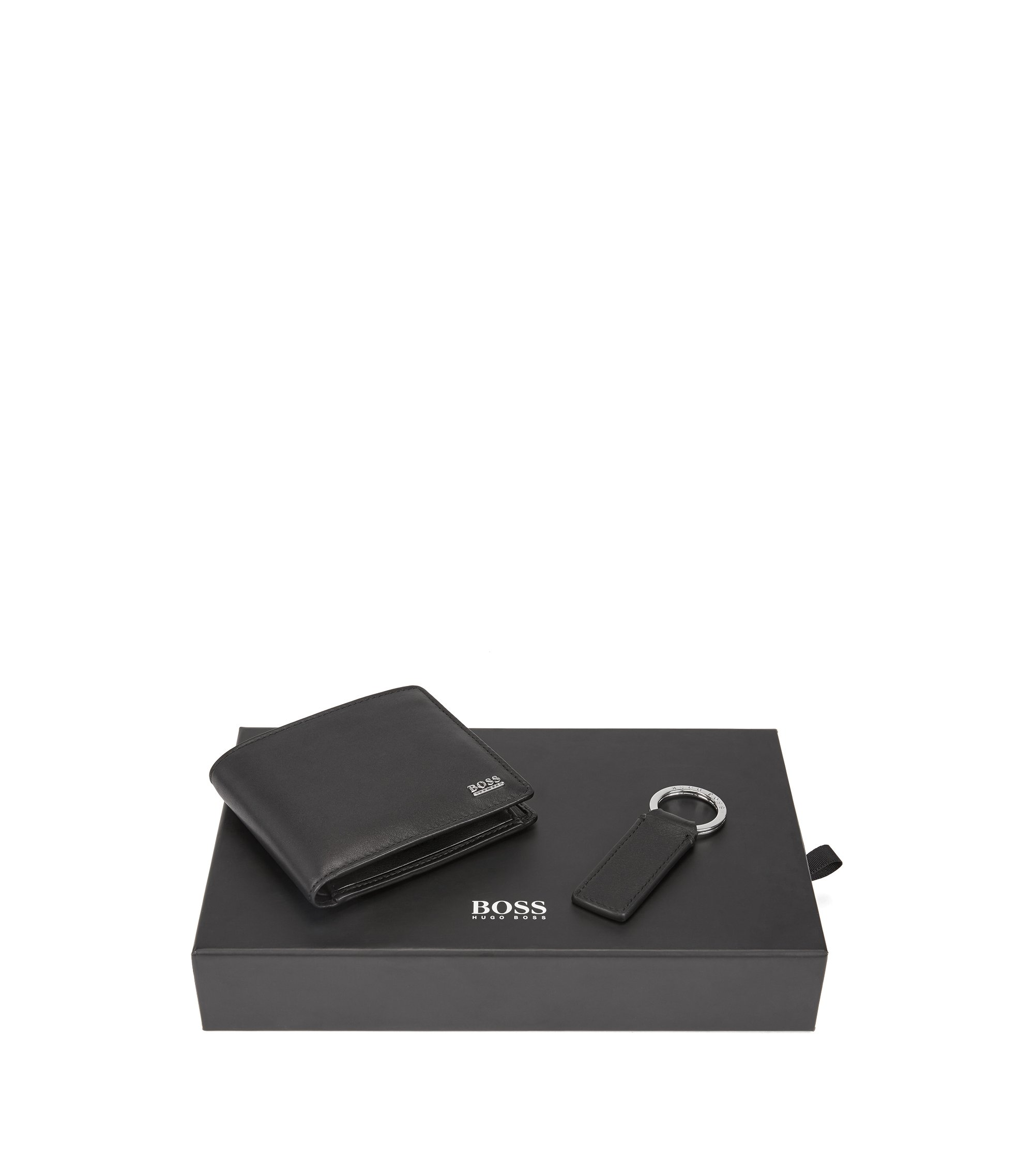 Matt-leather wallet and key ring gift set, Black