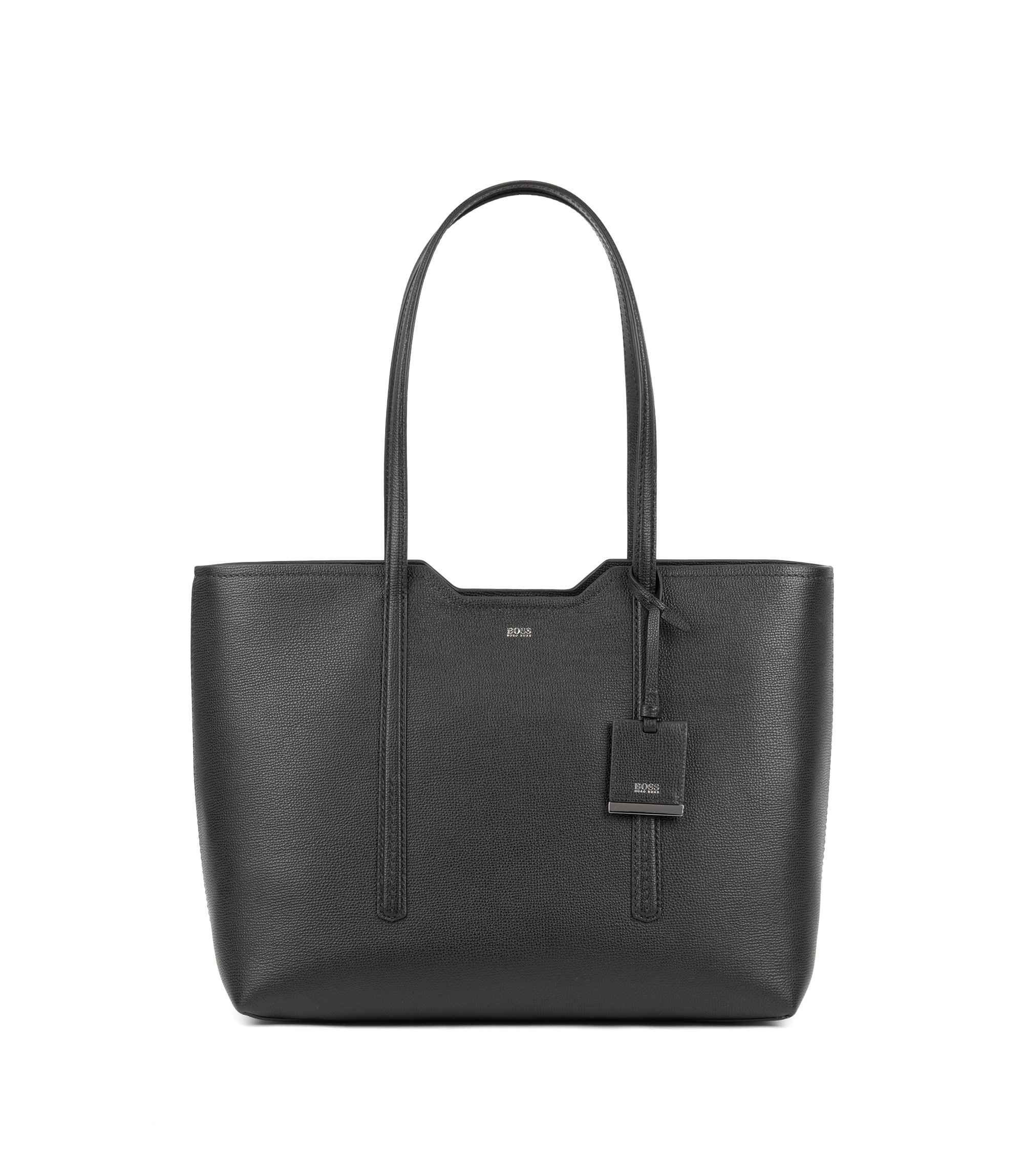 Shopper bag in grained Italian leather, Black