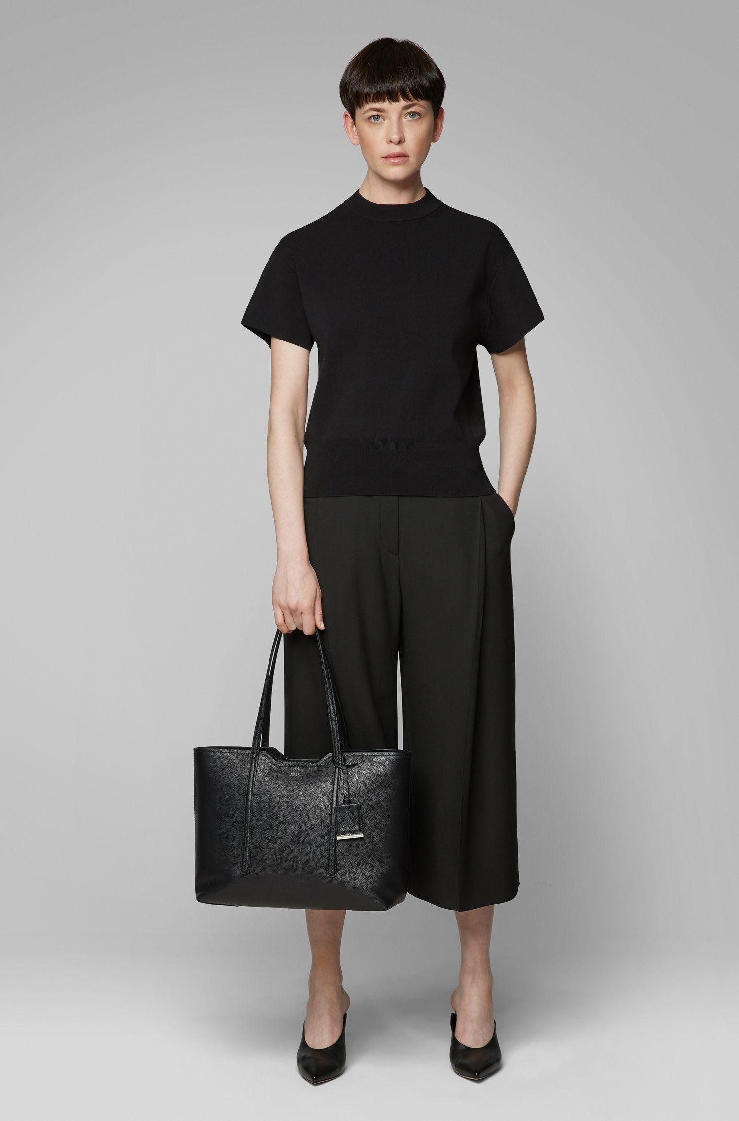 Shopper aus genarbtem italienischem Leder, Schwarz