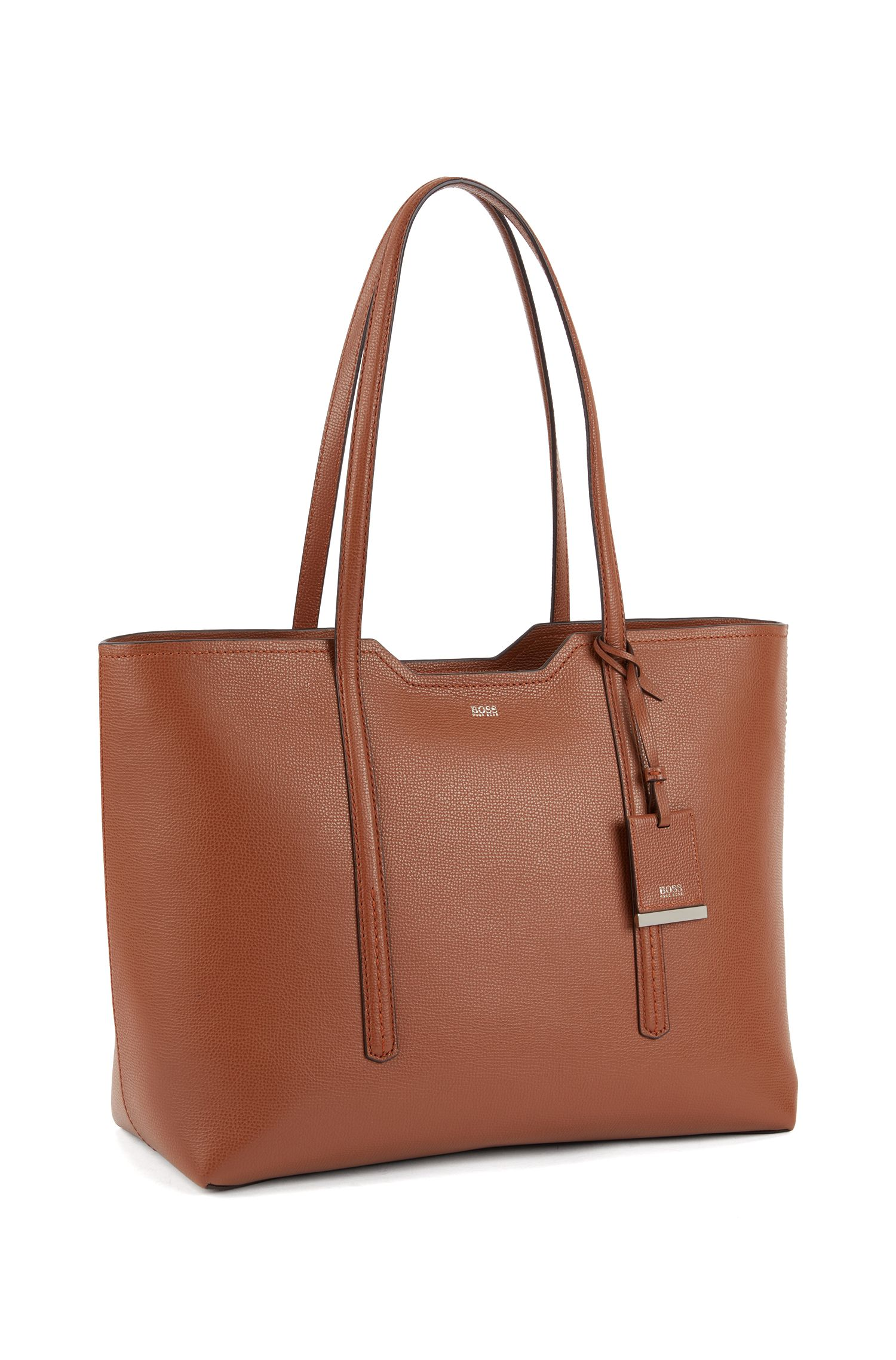 Shopper bag in grained Italian leather, Light Brown