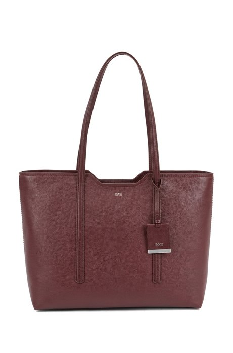 Shopper bag in grained Italian leather, Dark Red
