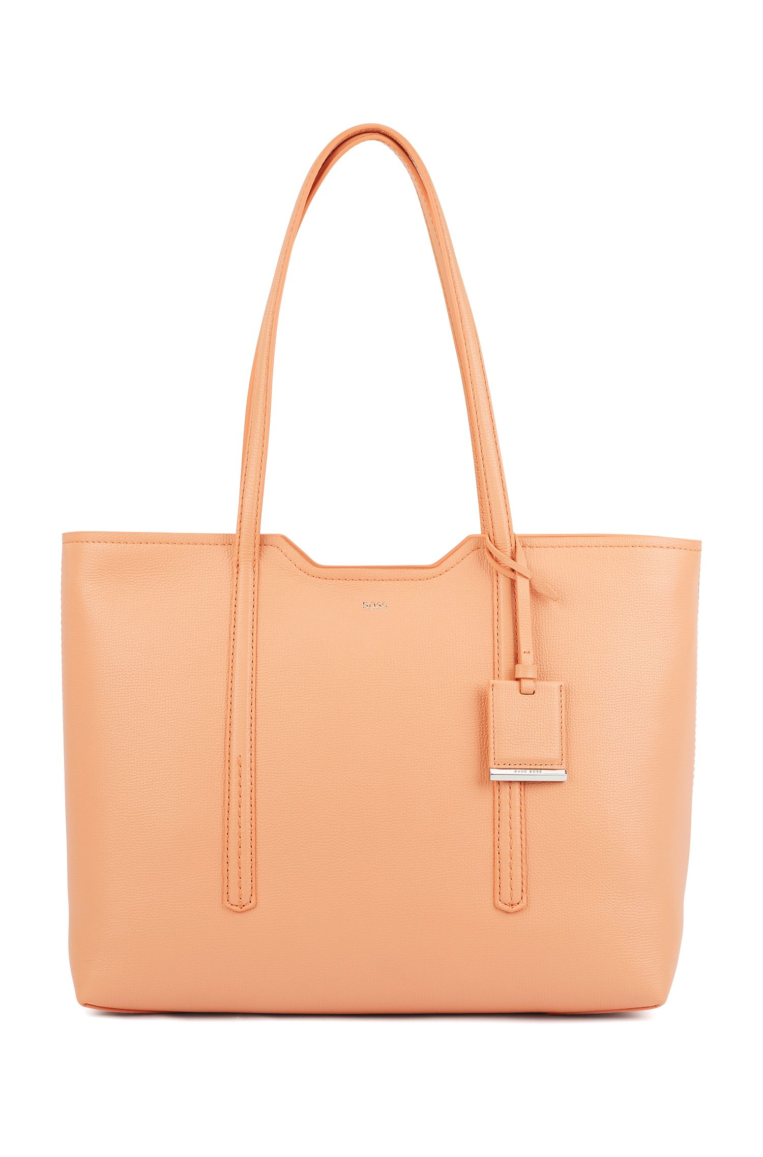 Shopper bag in grained Italian leather, Orange