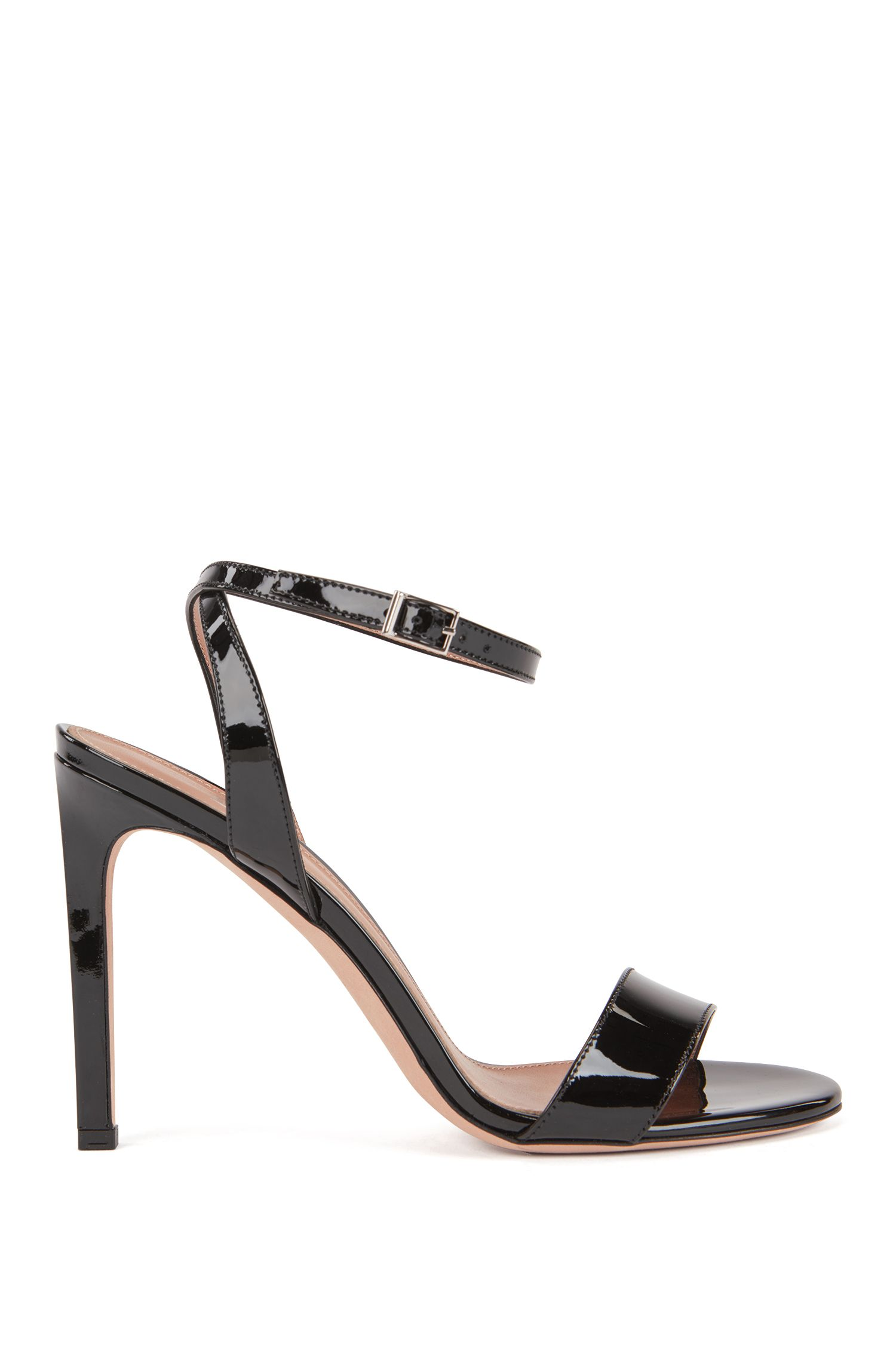 Strappy sandals in patent calf leather, Black