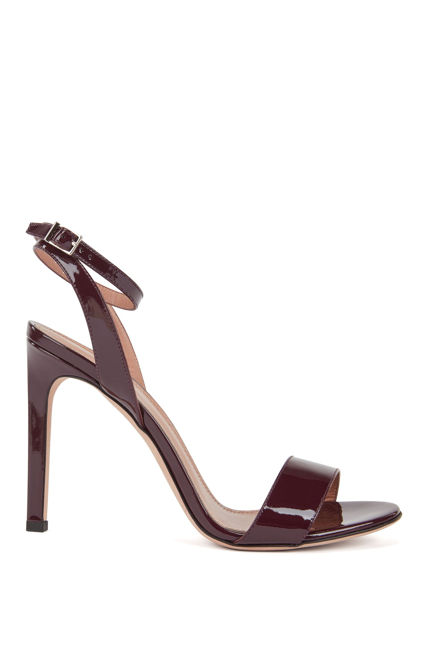 Strappy sandals in patent calf leather, Dark pink