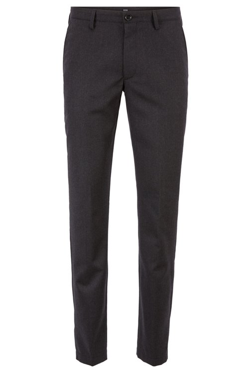 Hugo Boss - Pantalones slim fit en franela de lana virgen jaspeada - 1