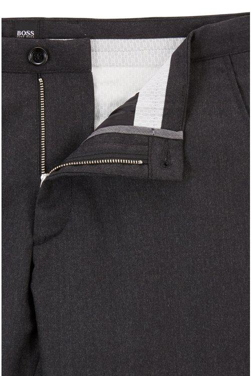 Hugo Boss - Pantalones slim fit en franela de lana virgen jaspeada - 4