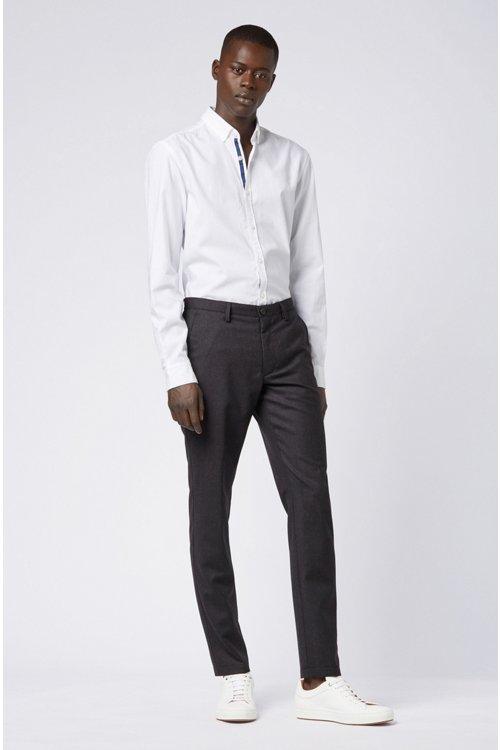 Hugo Boss - Pantalones slim fit en franela de lana virgen jaspeada - 2