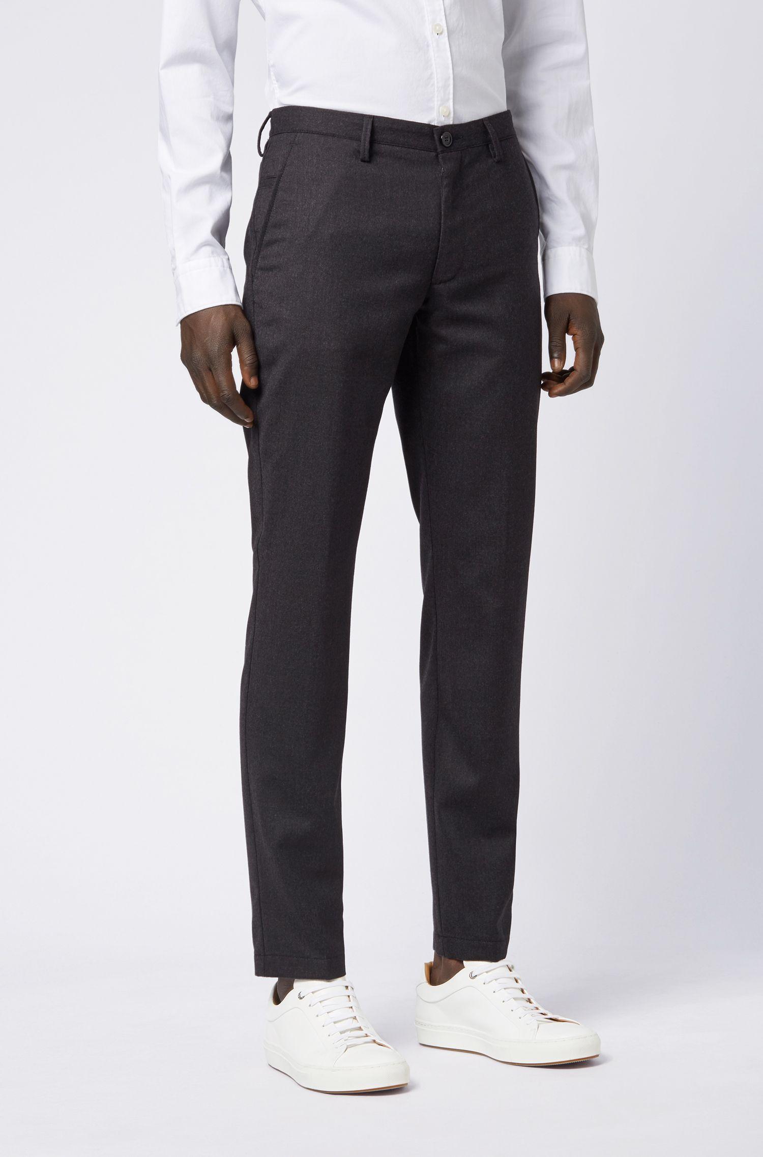Pantalones slim fit en franela de lana virgen jaspeada, Gris oscuro