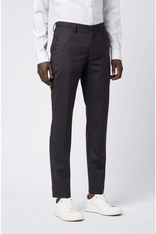 Hugo Boss - Pantalones slim fit en franela de lana virgen jaspeada - 5