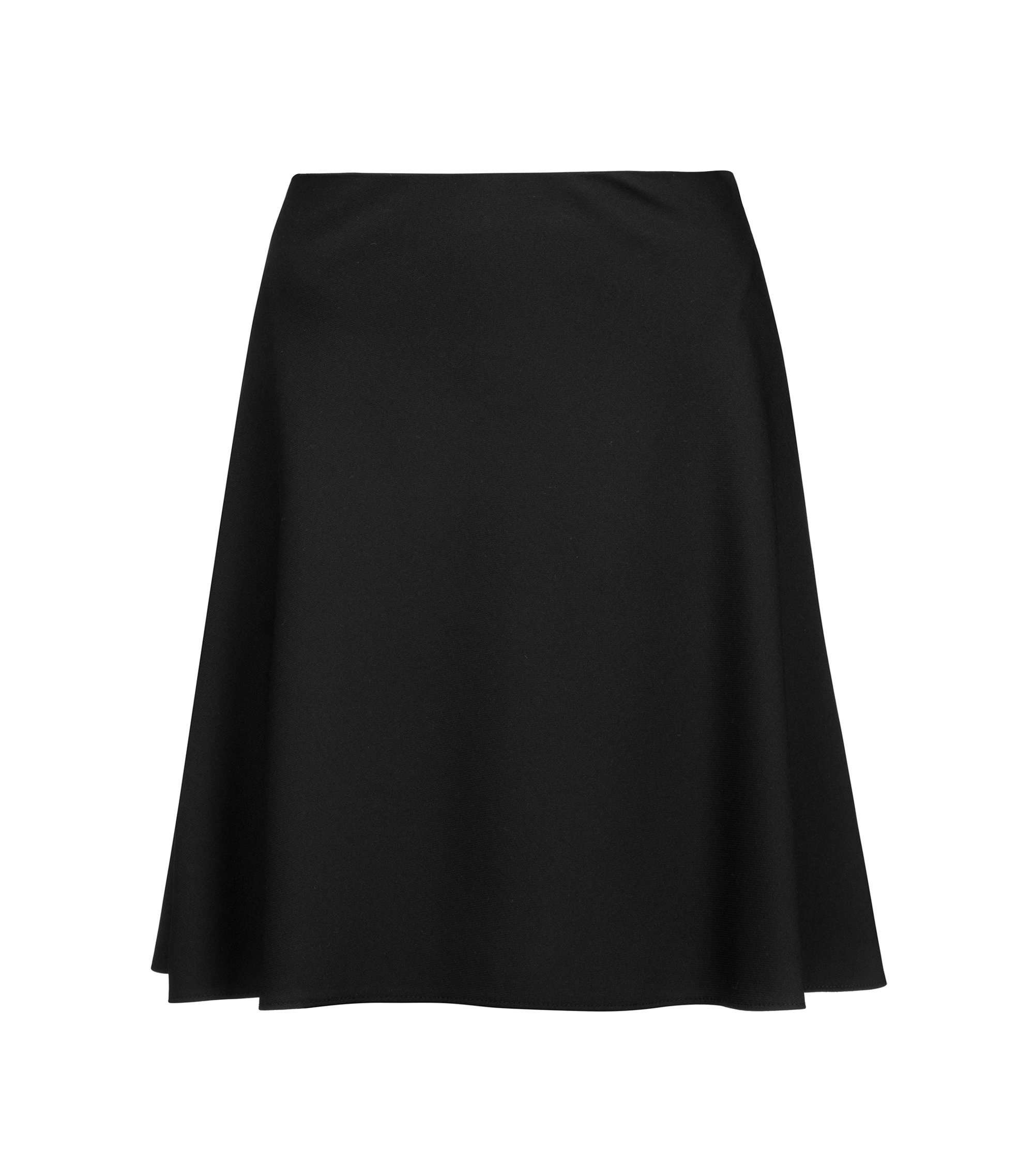 High-waisted miniskirt in flared stretch fabric, Black