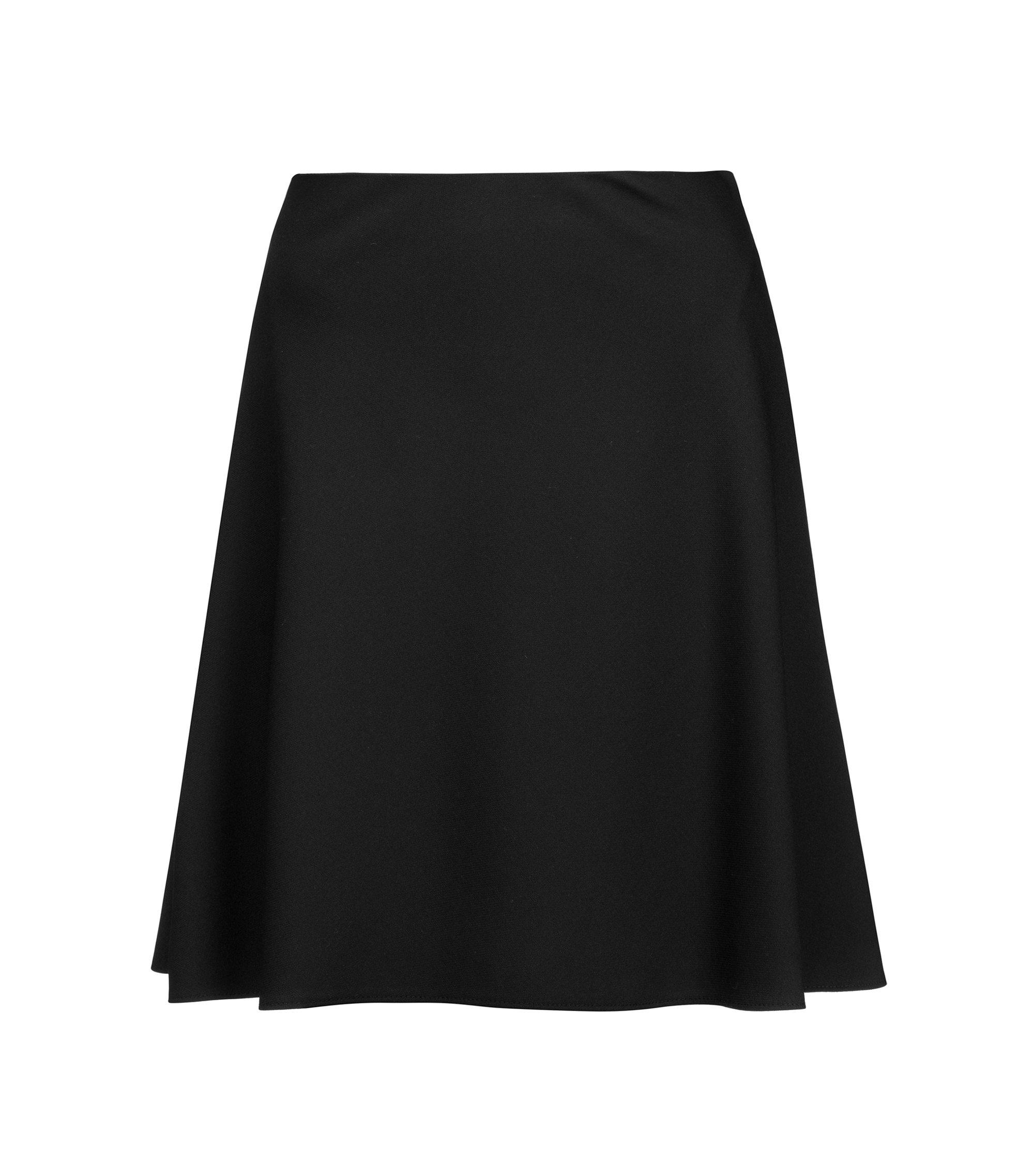 Minigonna a vita alta in tessuto elasticizzato dalla linea svasata, Nero