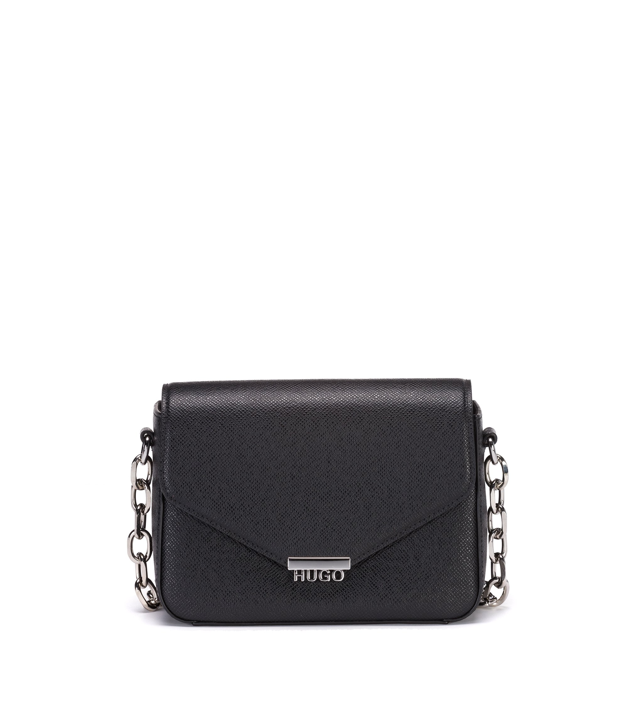 Crossbody bag in Saffiano-printed leather with chain detail, Black