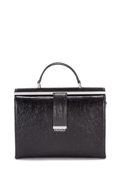 Top-handle doctor's bag in creased calf leather, Schwarz