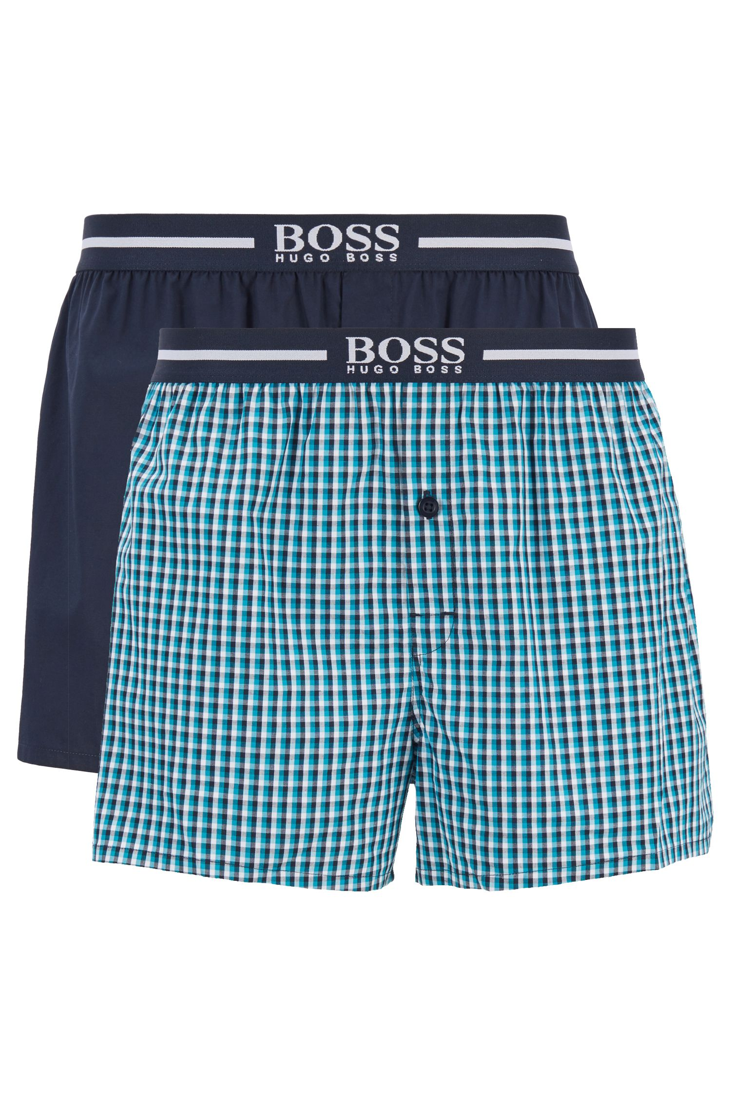 Two-pack of cotton boxer shorts with logo waistband, Turquoise