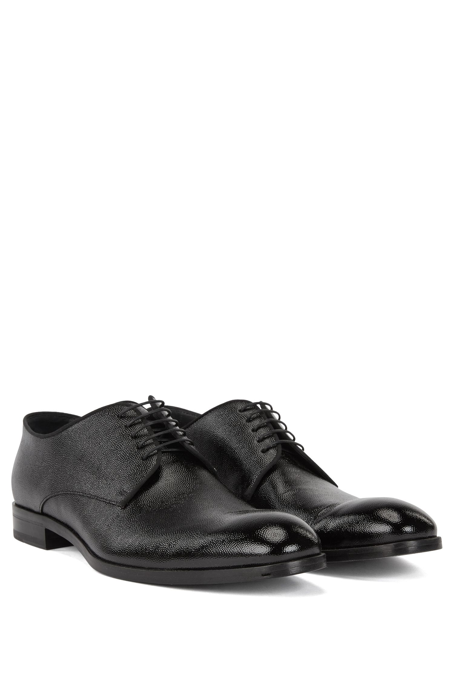 Italian-made Derby shoes in embossed patent leather, Black