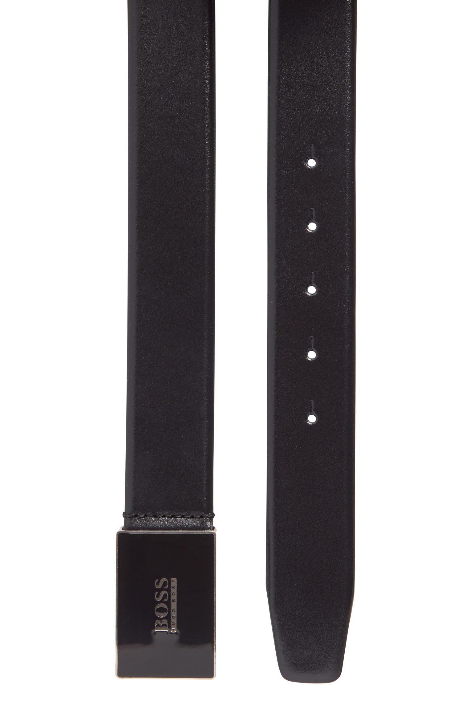 Italian-made leather belt with enamel plaque buckle, Black