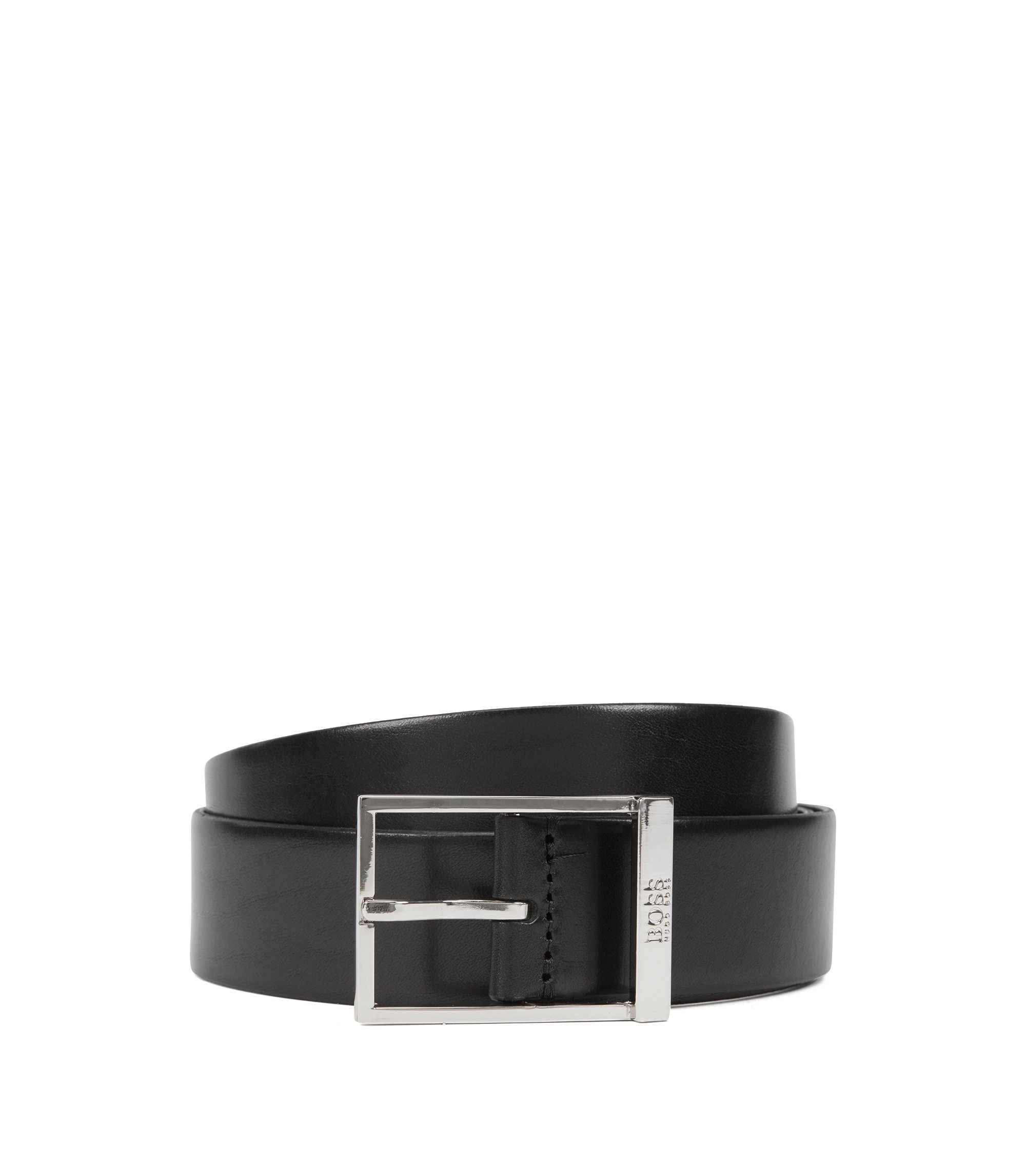 Pin-buckle belt in vegetable-tanned leather, Black