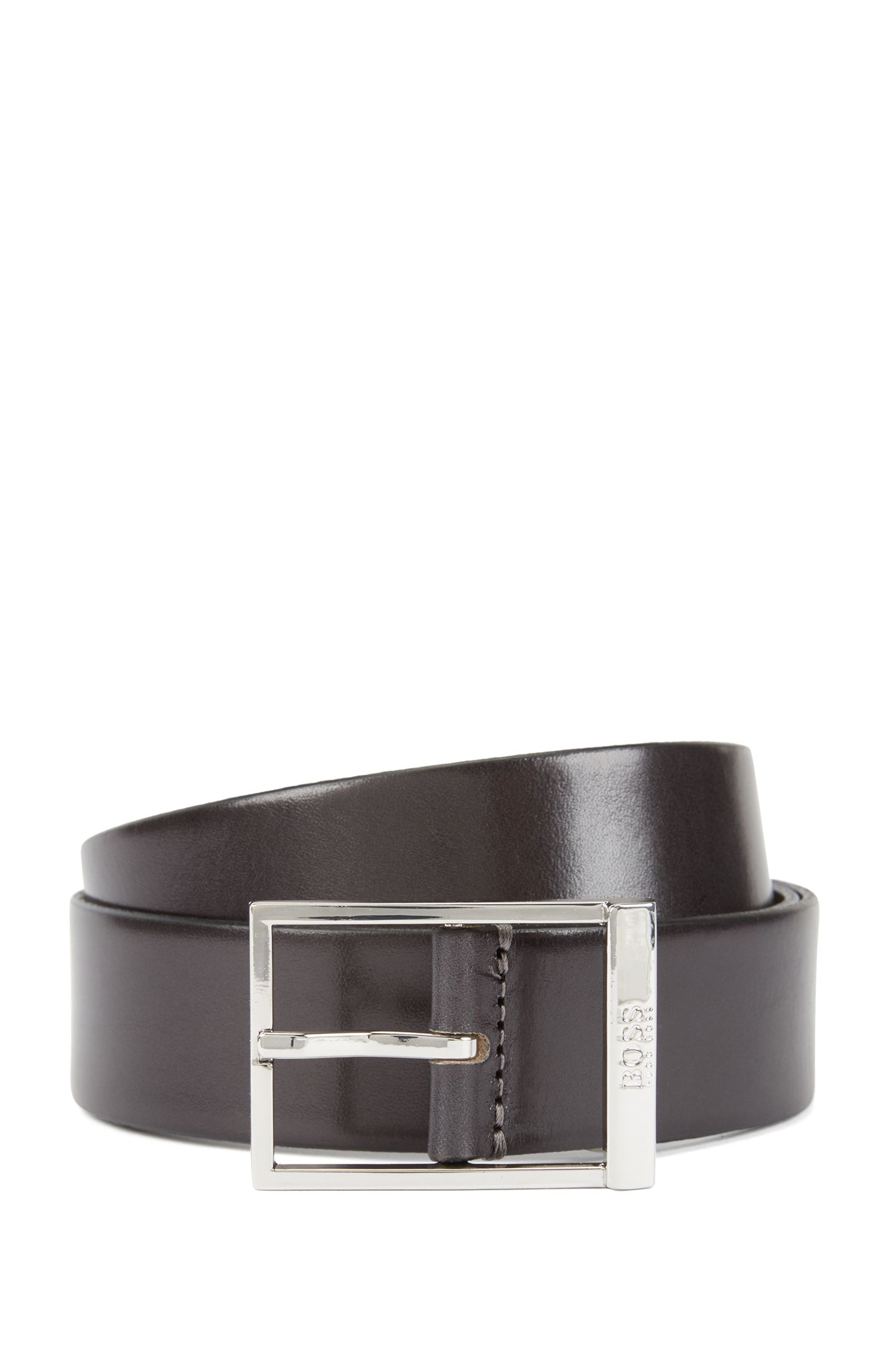 Pin-buckle belt in vegetable-tanned leather, Dark Grey