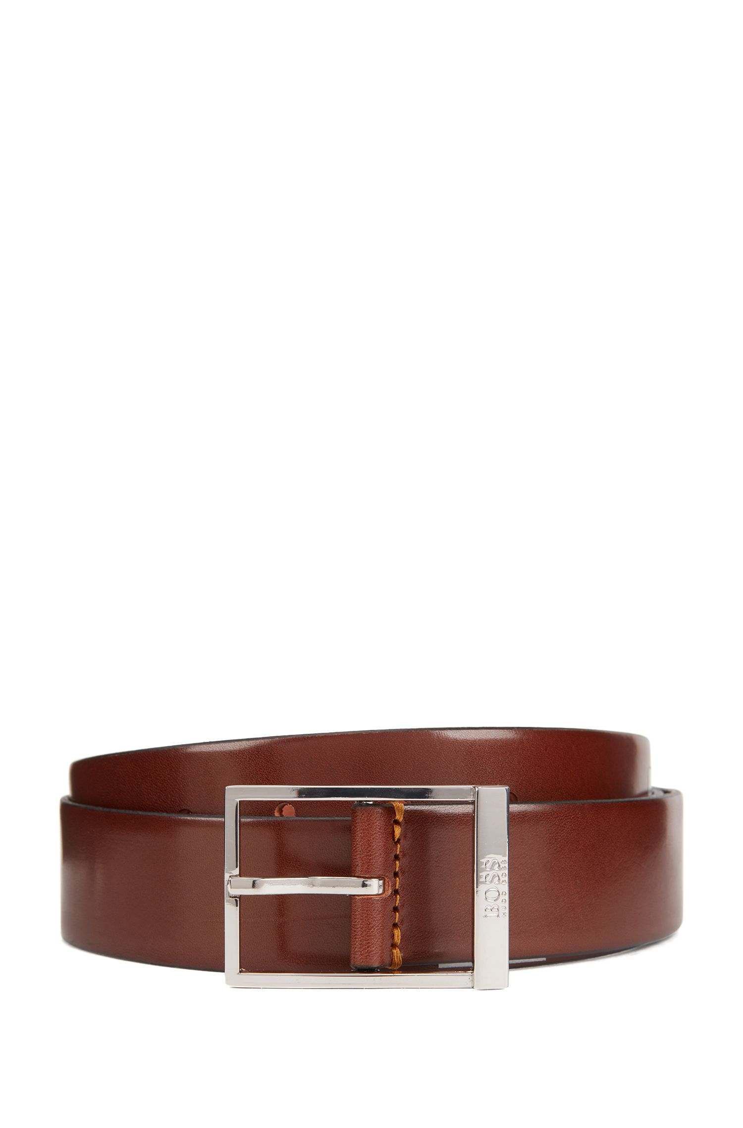 Pin-buckle belt in vegetable-tanned leather, Brown