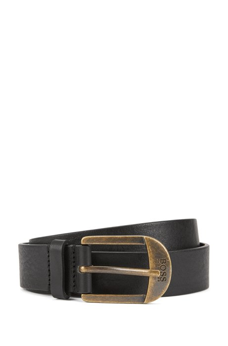 Italian-leather belt with antique-effect brass buckle, Black