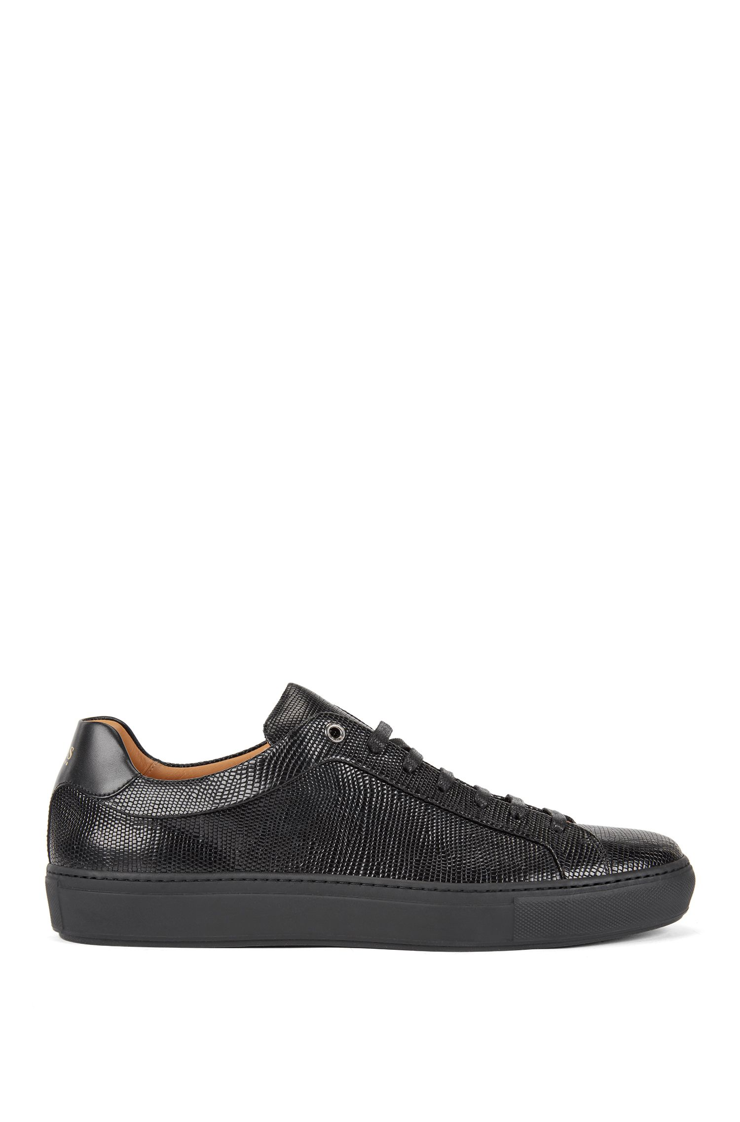 Tennis-inspired trainers in embossed calf leather, Black