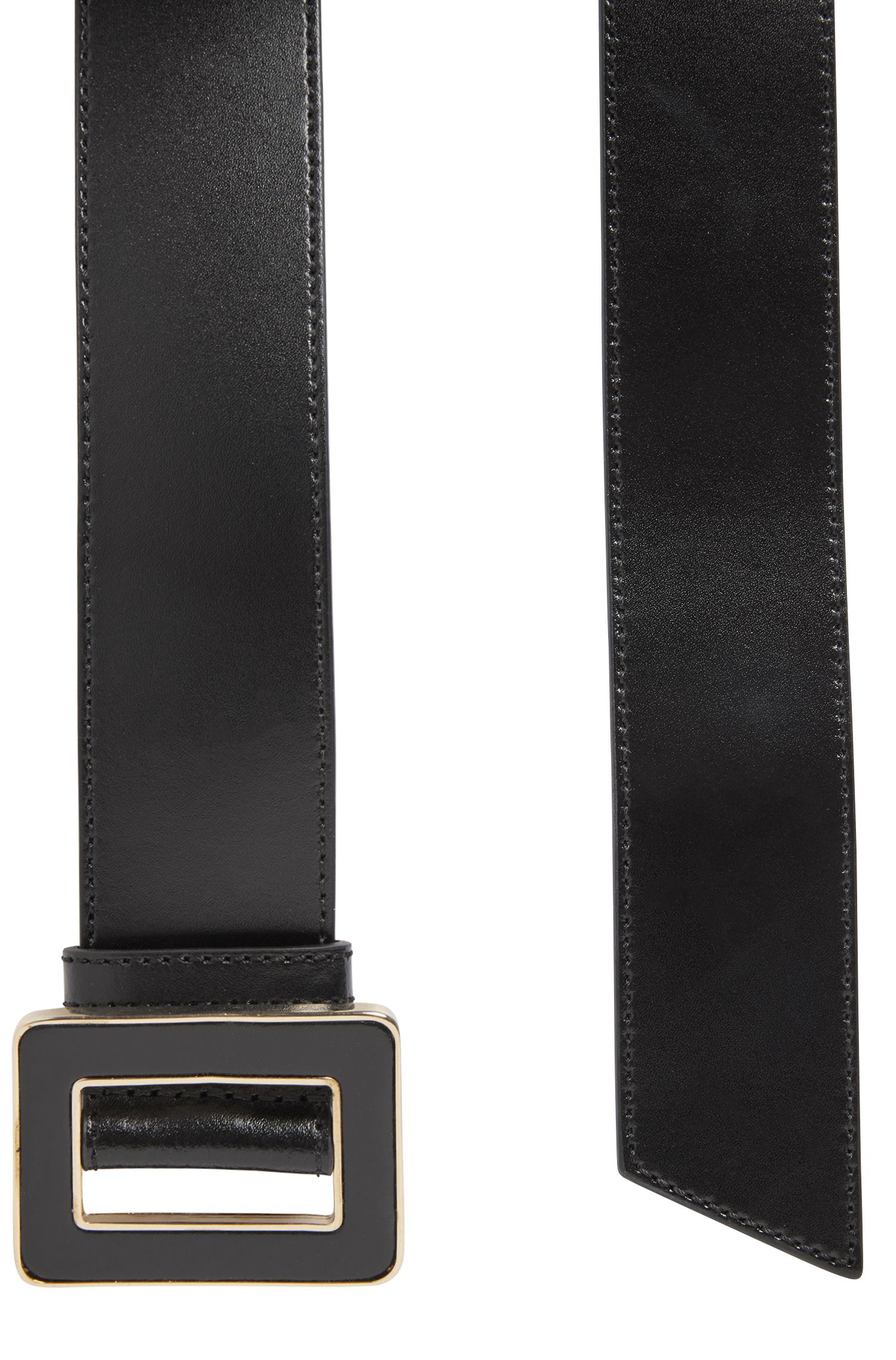 Coated-leather belt with gold-effect buckle, Black
