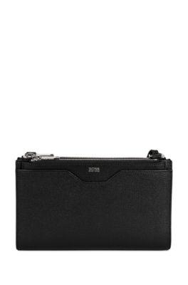 Kleine Handtasche aus genarbtem italienischem Leder, Schwarz