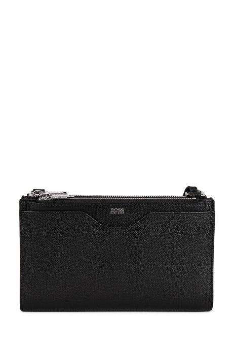 Mini handbag in grained Italian leather, Black