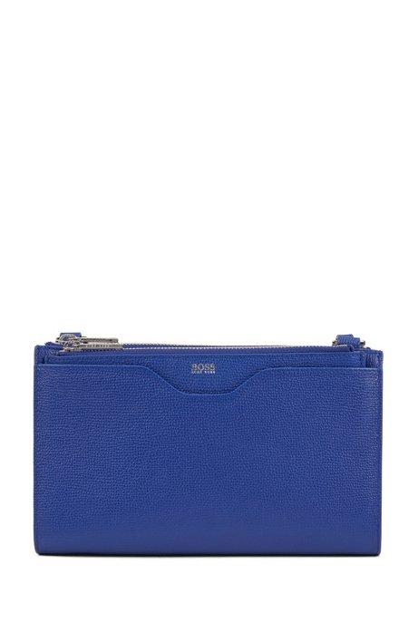 Mini handbag in grained Italian leather, Blue